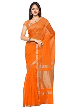 Orange N Gold Blended Cotton Saree