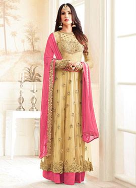 Yellow Net Abaya Style Anarkali Suit