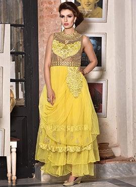 Yellow Net Layered Draped Gown