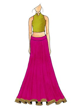 A Classey Pea Green Plain Halter Neck Top With An