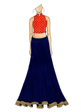 Red Embroidered Halter Neck Top N Blue Opal Bottom