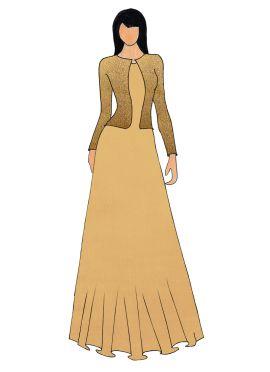 A Beige Art Silk Gown