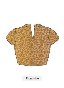 A Beige Art Silk Short Sleeve Blouse