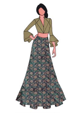 A Beige Shimmer Georgette Bell Sleeve Suit