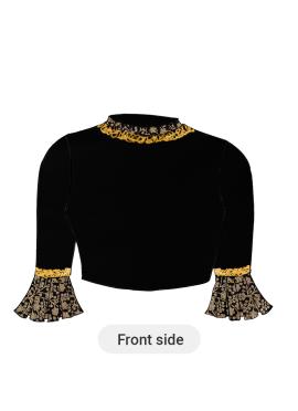 A Black Dupion Silk Box Pleate Sleeve Blouse