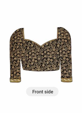 A Black Embroidered Panneled Blouse