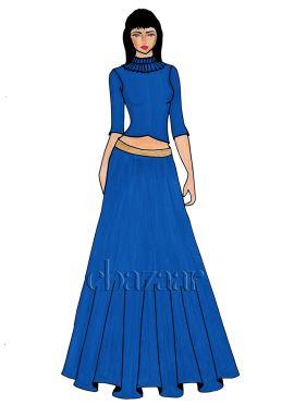 A Blue Art Raw Silk Crop Top And Skirt