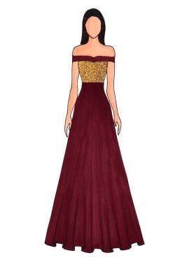 A Burgundy Floor Length Gown That Features An Off Shoulder Pattern