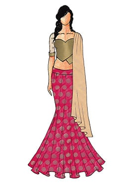 A Chic Antique Gold Fish Cut Lehenga with A Sweet Heart Neck Blouse