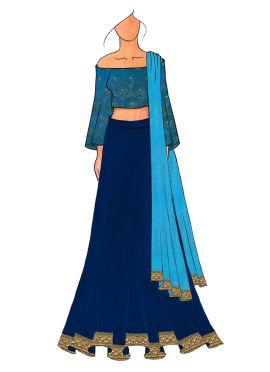 A Chic Aqua Blue Half Shouldred Lehenga