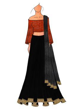 A Chic Dark Orange Half Shouldred Lehenga