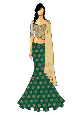 A Chic Green Fish Cut Lehenga with A Gold Embroided Sweet Heart Neck Blouse