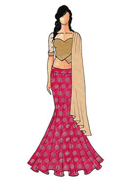 A Chic Pink Fish Cut Lehenga with A Light Beige Shimmer Sweet Heart Neck Blowse
