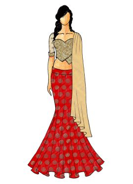 A Chic Red Fish Cut Lehenga with A Gold Embroided Sweet Heart Neck Blouse