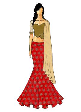 A Chic Red Fish Cut Lehenga with A Olive Green Shimmer  Sweet Heart Neck Blouse
