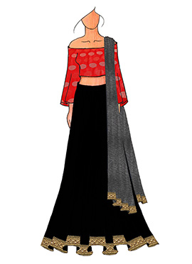 A Chic Red Half Shouldred Lehenga