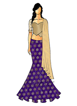 A Chic Violet Fish Cut Lehenga with A Antique Gold Sweet Heart Neck Blouse