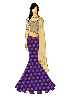 A Chic Violet Fish Cut Lehenga With A Gold Embroid