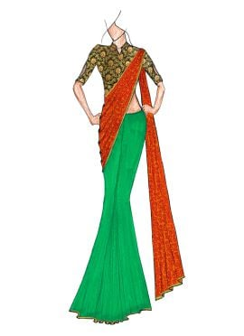 A Classy Fern Green N Patterned Golden Orange Half N Half Saree Paired With A Trendy Brocade Blouse
