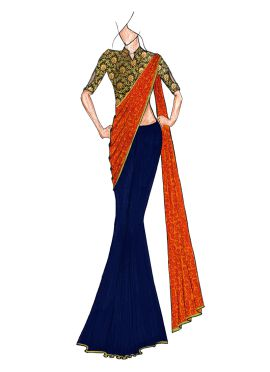 A Classy Plain MidNight Blue N Patterned Golden Orange Half N Half Saree Paired With A Trendy Brocad