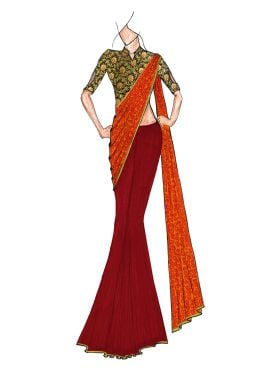 A Classy Plain Tango Red N Patterned Golden Orange Half N Half Saree Paired With A Trendy Brocade Bl