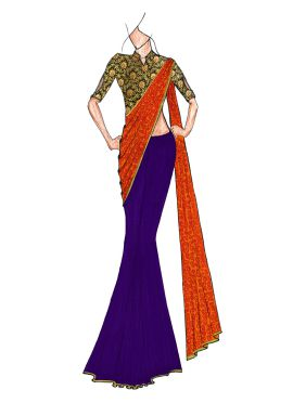 A Classy Sodalite Blue N Patterned Golden Orange Half N Half Saree Paired With A Trendy Brocade Blou