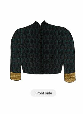 A Contemporary Aqua Green Closed Collar Blouse With Princess Cut Style