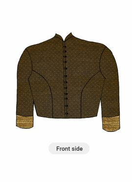A Contemporary Brown Closed Collar Blouse With Princess Cut Style