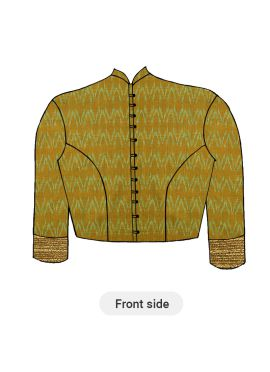 A Contemporary Mustard Closed Collar Blouse With Princess Cut Style