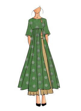 A Contemporary Olive Green Kalis Kurthi With Palazzo Suit