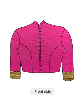 A Contemporary Rani Pink Closed Collar Blouse With Princess Cut Style