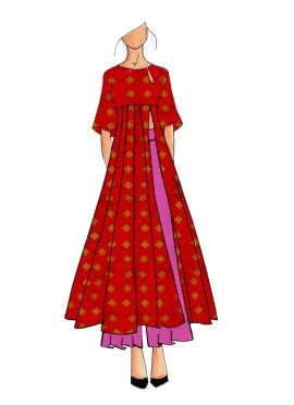 A Contemporary Red Kalis Kurthi With Palazzo Suit