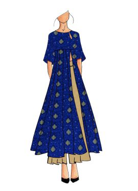 A Contemporary Royal Blue Kalis Kurthi With Flared Palazzo Suit