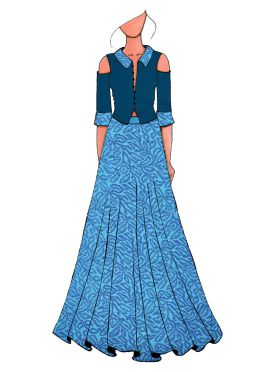 A Contemporary Skirt Suit With Teal Blue Cold Shoulder Shirt