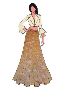 A Cream Art Dupion Silk Bell Sleeve Suit