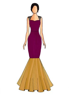 A Dark Purple Mermaid Gown With Bottom Flare