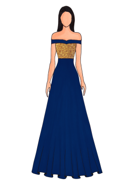 A Dusky Blue  Floor Length Gown That Features An Off Shoulder Pattern