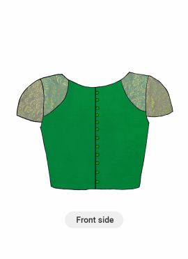 A Fern Green Dupion Silk Half Sleeve Blouse