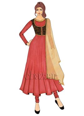 A Goji Berry Crepe Jacket Style Anarkali Suit
