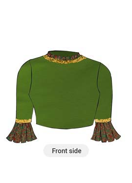 A Grasshopper Dupion Silk Box Pleate Sleeve Blouse