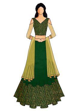 A Green Art Silk Brocade Cold Shouldered Lehanga
