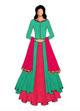 A Green Long Choli With Bright Pink Lehenga