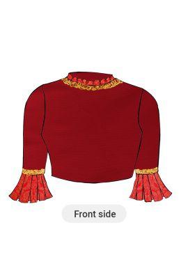 A High Risk Red Taffeta Box Pleate Sleeve Blouse