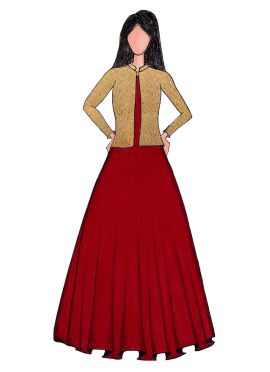 A High Risk Red Taffeta Gown With Embroidered Jacket