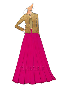 A Hot Pink Lehenga With Embroided Beige Jacket