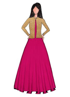 A Hot Pink Taffeta Gown With Embroidered Jacket