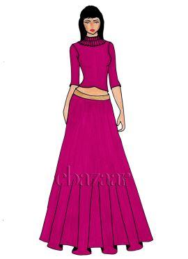 A Magenta Art Dupion Silk Crop Top And Skirt
