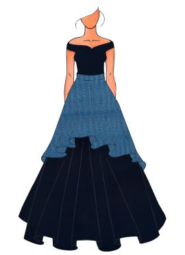 A Dark Purple Ball Christmas Gown