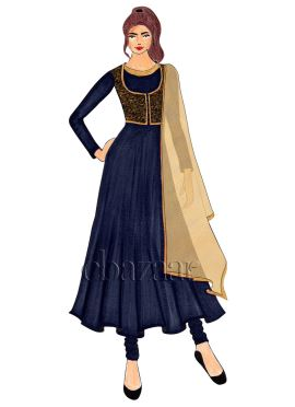 A Midnight Blue Crepe Jacket Style Anarkali Suit