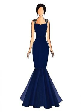 A Midnight Blue Mermaid Gown With Bottom Flare